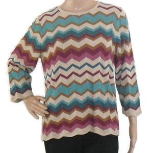 Alfred Dunner Multi Color Chevron Sweater
